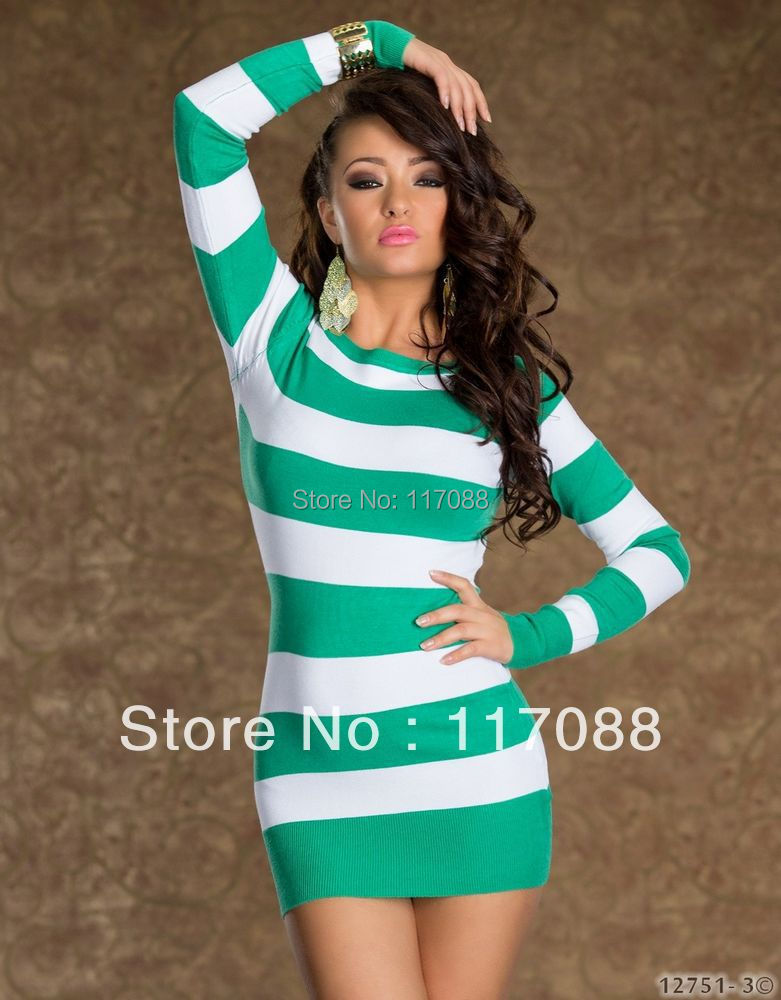 3d593cfc7fe Free Shipping Newly Arrival ML17729 Sexy Long Sleeve Hot Colored Strips  Dress Green and White Sexy Mini dress