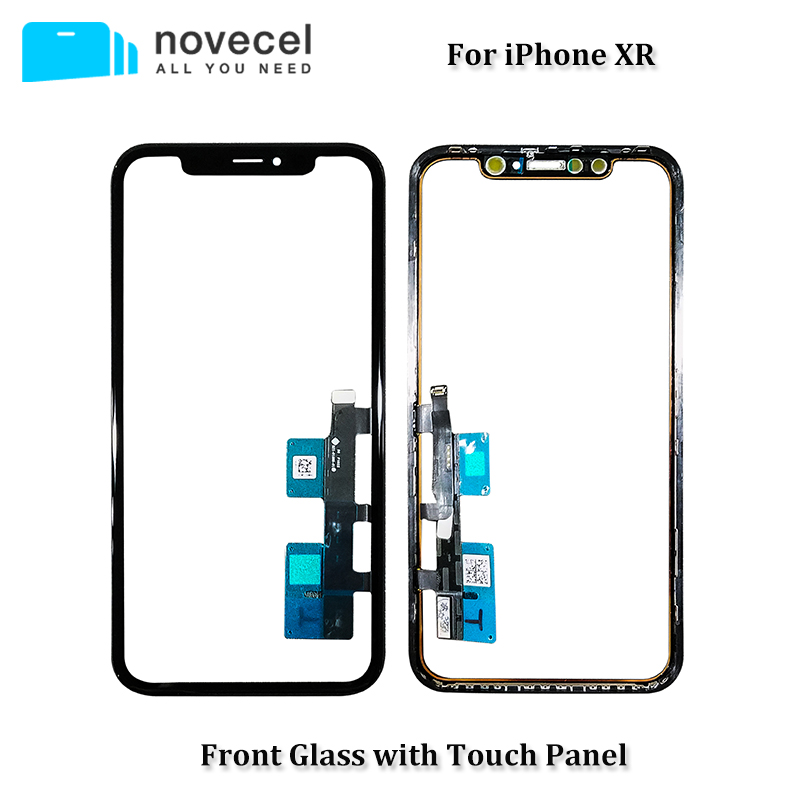 Novecel Touch Screen Digitizer Panel Repair Parts with Frame for iPhone XR Touchscreen Front Glass Lens Sensor
