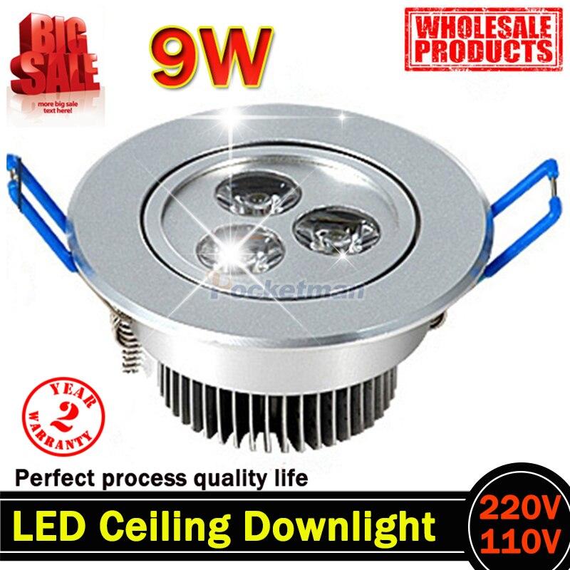 9W AC85V-265V 110V / 220V LED Stropní svítidlo vestavěné LED Nástěnné svítidlo Bodové světlo S LED ovladačem pro domácí osvětlení