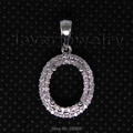 Vintage Oval 7x9mm Solid 18Kt White Gold Diamond Semi Mount Pendant Wholesale Fine Jewelry for Girl WP025