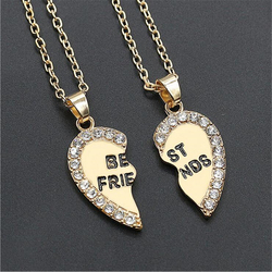 2016 New Style Splice crystal Heart Pendant Best Friend Letter Necklace For Women Wholesale Jewelry Best Gift For Friends