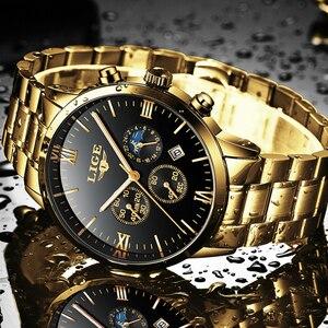 Image 4 - LIGE montre bracelet de Sport pour hommes, qualité militaire, cuir et acier, Top luxe, marque montre étanche décontractée