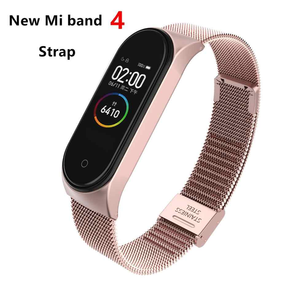 Mi Band 4 3 Wrist Strap Metal Screwless Stainless Steel For Xiaomi Mi Band 4 3 Strap Bracelet Miband 4 3 Wristbands Pulseira