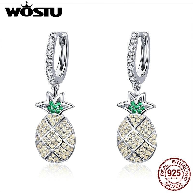 Wostu Summer Pineapple 925 Silver Earring Fashion Ear Stud Fashion Jewelry Gifts