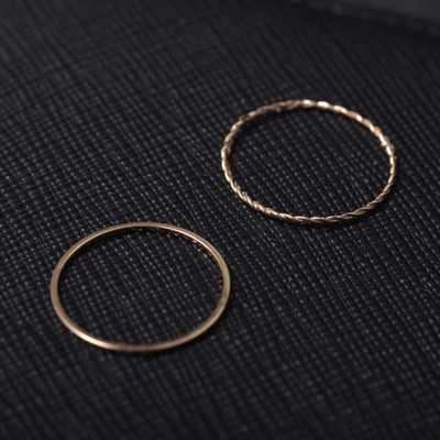 2019 2 ชิ้น/เซ็ต Gold Twist เรขาคณิตแหวนสำหรับเครื่องประดับสตรีแฟชั่นน่ารักบาง knuckle แหวนชุดพรรคหญิงของขวัญ