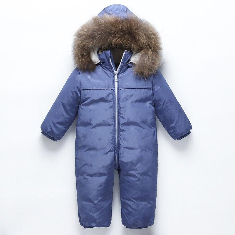 Petit bébé bas combinaison col fourrure véritable garçon manteau fille hiver Parker manteau enfants chaud coupe-vent et froid hiver ski costume