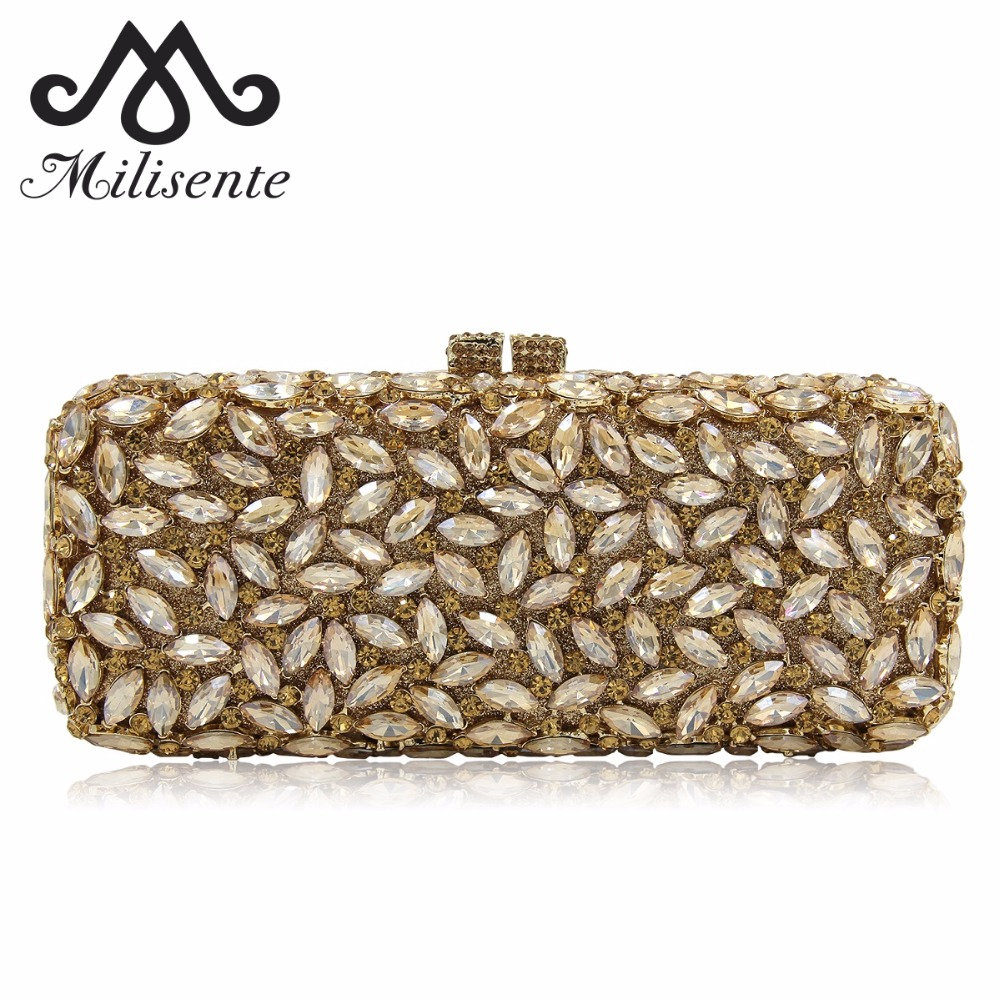 Milisente Brand Luxury Women Evening Bags Gold Fashion Diamond Crystal Party Clutch Bag Chain Wedding Clutches Purses newest design evening bags ring diamond clutch chain shoulder bag purses wedding party banquet bag blue gold green red 88621 d