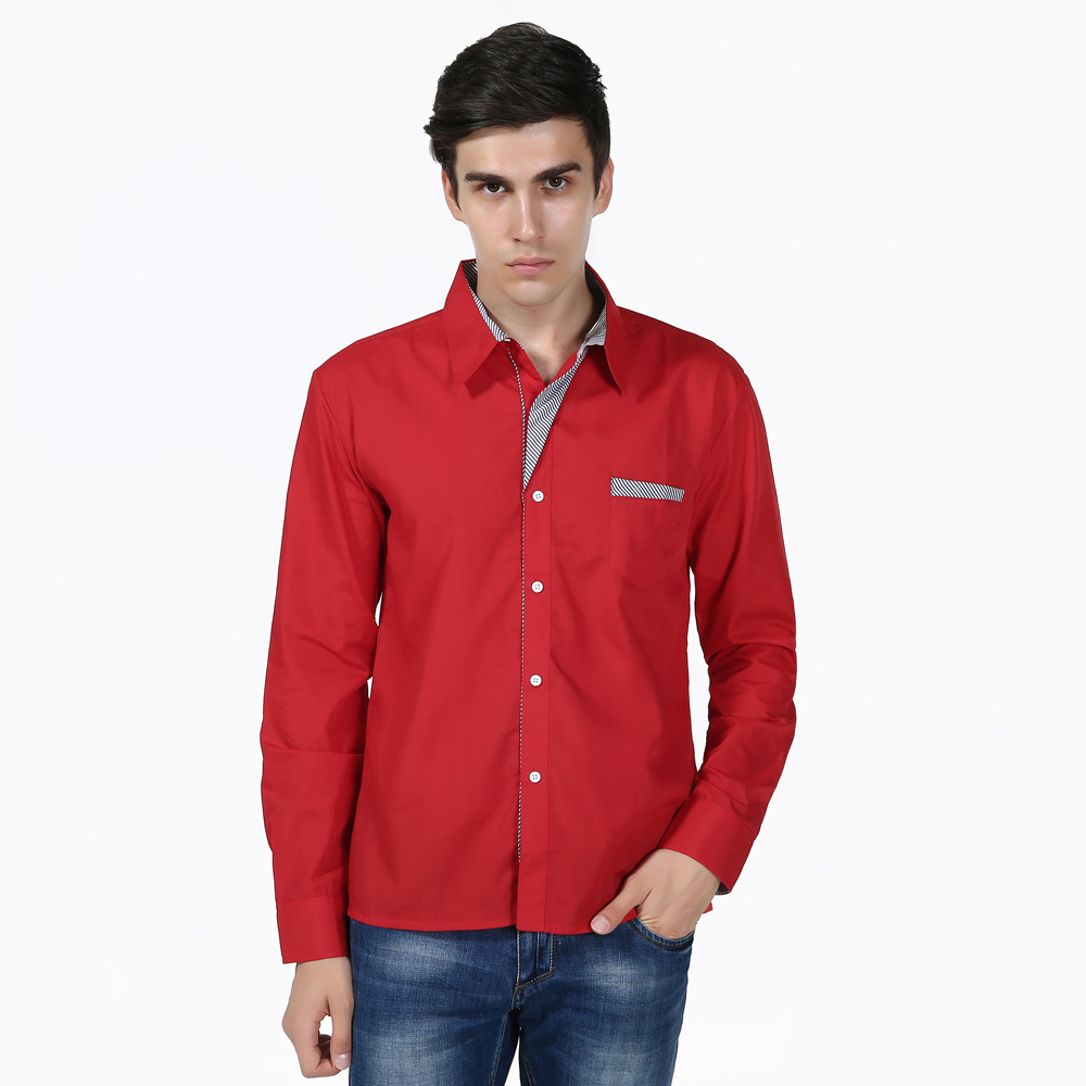 New Male Casual Placket Matching Large Size Men's Long Sleeve Turn-Collar Shirt Men's American Size Men's Wear
