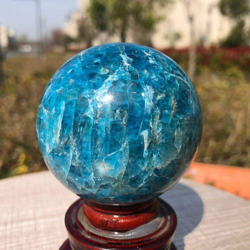 305g Natural Blue Apatite Ball Sphere Quartz Crystal Mineral Healing305g Natural Blue Apatite Ball Sphere Quartz Crystal Mineral Healing