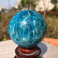 50-60mm Natural Blue Apatite Ball Sphere Quartz Crystal Mineral Healing