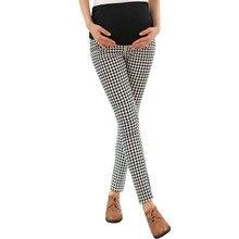 Клетчатые брюки с высокой талией для беременных женщин; Одежда для беременных; эластичные брюшные Брюки для беременных; удобные брюки для отдыха
