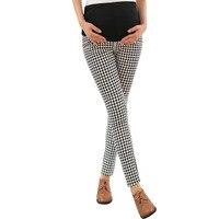 Клетчатые брюки с высокой талией для беременных женщин; Одежда для беременных; эластичные брюшные Брюки для беременных; удобные брюки для о...