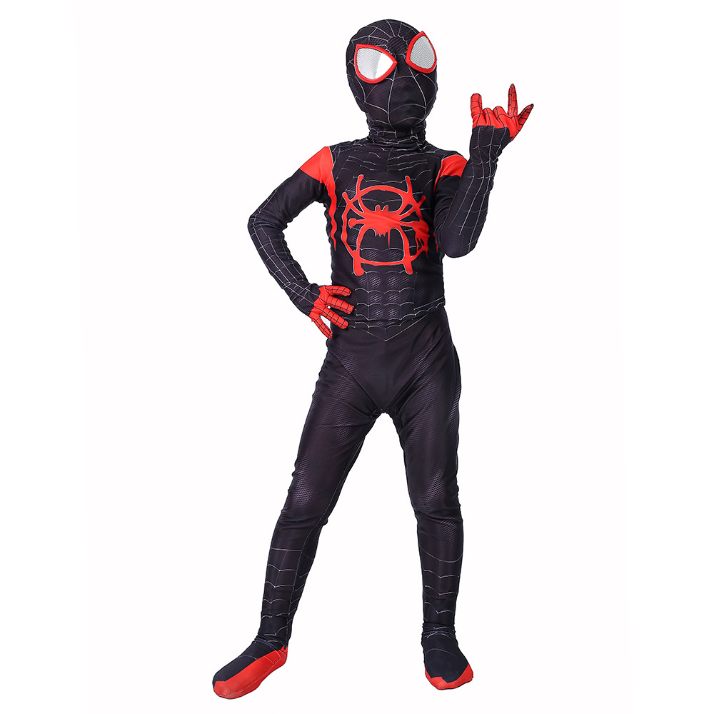 Children Spider-man Into The Spider Verse Miles Morales Cosplay Costume Spiderman Suit Kids 3d Zentai Cosplay Jumpsuit Bodysuit