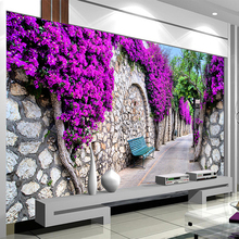 Foto Papel De Parede 3D Estéreo Flores Roxas Tijolo Murais Moderna Rua 3 Pano de Parede Revestimento de Parede do Quarto Sala de estar Decoração de Casa D