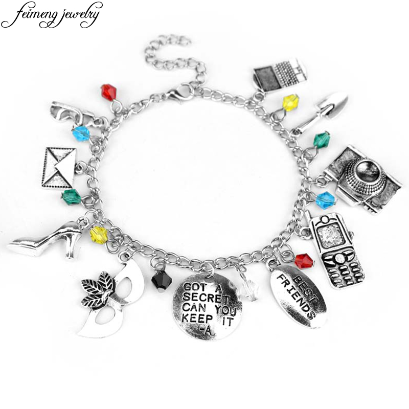Pretty Little Liars Charm Bracelet GOT A SECRET CAN YOU KEEP IT -A Mask Crystal Beads Bracelet Best Friends Christmas Gifts
