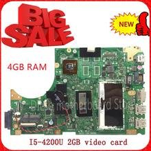 KEFU S451LN For ASUS S451LN laptop motherboard s451ln rev 2.0 4G RAM with i5-4200U new motherboard 2G video card 100% tested