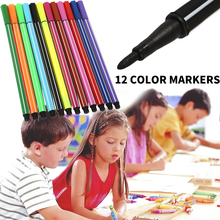 Art Brush Mark Pens 12colors Watercolor Pen Marker Writing Stationery Children Drawing Professional Study Painting Graffiti