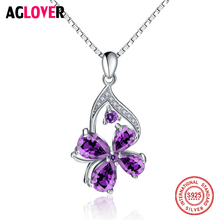 925 Sterling Silver Necklace Woman Austrian Crystal Clover Pendant Necklace Charm Wedding Jewelry все цены
