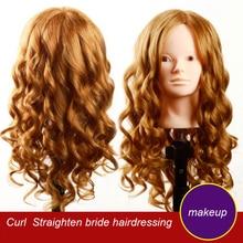 Maquiagem Prática Cabeça Manequim Manequim Manequim cabeça com Bonecas de cabeça Modelo de cabelo 85% real cabelo humano cabeleireiro Manequim cabeça