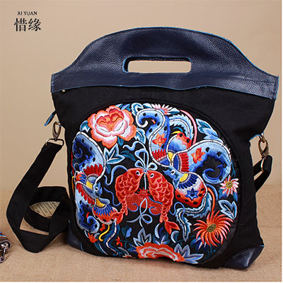 XIYUAN BRAND luxury and Fashion Women cow Genuine Leather Black red Embroidery Embroidered Shoulder Handbags Messenger Bags bag xiyuan brand ladies beautiful and high grade imports pu leather national floral embroidery shoulder crossbody bags for women