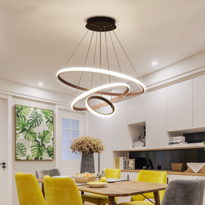 Image 5 - Black/White/Coffee Color Modern led pendant lights for living room dining room Circle Rings aluminum Pendant Lamp fixtures