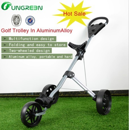 New Folded High Quality Golf Trolley with 3 Wheels Multifunction golf Trolley In Aluminum Alloy black simulation mini golf course display toy set with golf club ball flag