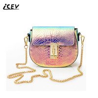 ICEV 2017 New Fashion Pig Colorful Alligator Discoloration Crossbody Bags For Women Messenger Bags Handbags Women
