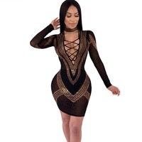 Geometric Rhinestone Long Sleeve Bodycon Dress Women Sexy Mesh Sheer V neck Retro Party Club Bandage Mini Dress Vestidos