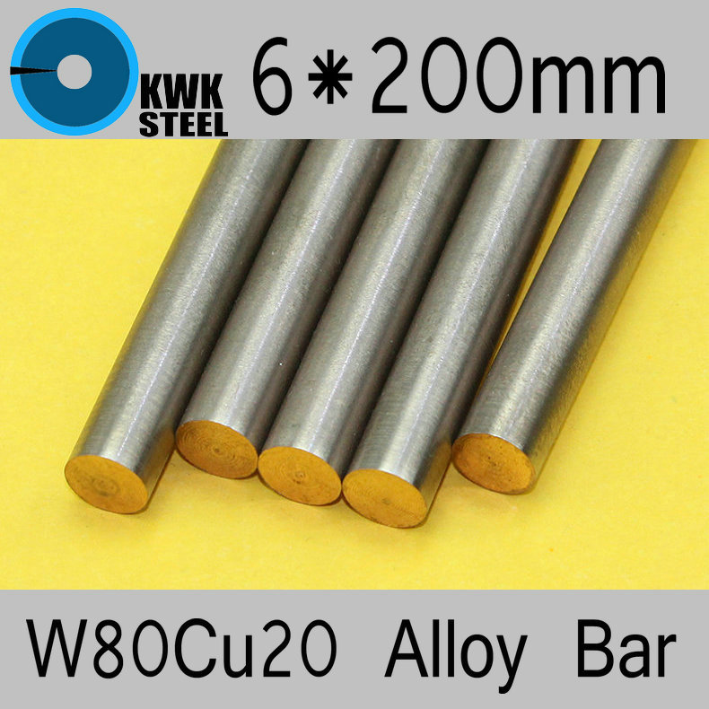 6*200mm Tungsten Copper Alloy Bar W80Cu20 W80 Bar Spot Welding Electrode Packaging Material ISO Certificate Free Shipping