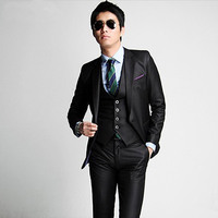 ホット販売スーツ卸売2015高品質ファッションメンズスーツビジネス結婚式の男性のスリム服、スーツ+パンツ