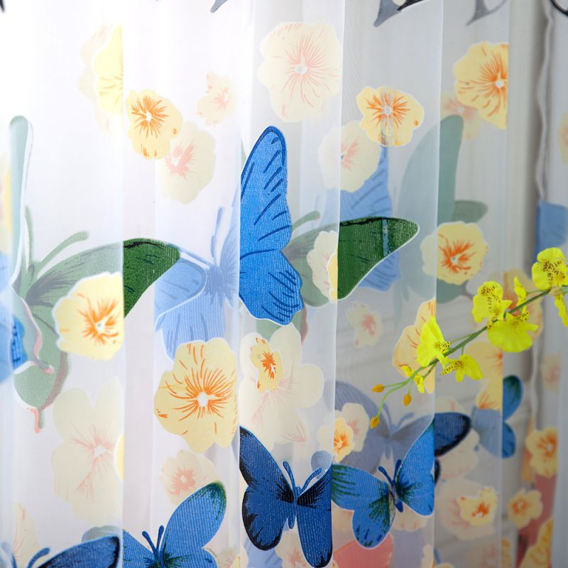 100*200cm Rod Offset Printing Butterfly Screen Window Curtain Translucidus Tulle Btmv(China)