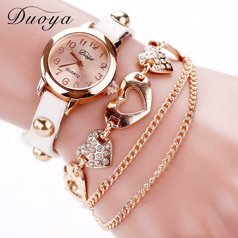 Rose Gold Watch And Heart Bracelet - white