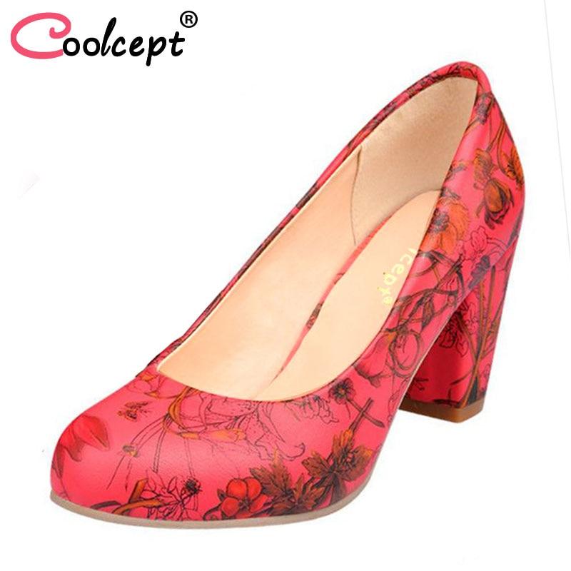 Coolcept Size 31-43 News Women High Heel Shoes Ladies Print Flower Heels Pumps Wedding Party Ladies Shoes Women Heeled Footwear verdi nabucco arena di verona