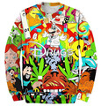 New fashion 2017 men/womens 3D sweatshirts graphic print cartoon drugs & weed funny crewneck pullover hoodies spring casual tops