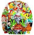 Nova moda 2017 homens/mulheres 3D camisolas impressão gráfica drogas & erva daninha engraçado dos desenhos animados hoodies crewneck pullover primavera casual topos