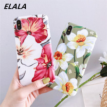 ELALA Flowers Leaf Case For iPhone 7 Case Tropical Leaves Print IMD Candy Cover For iPhone 6s 6 7 8Plus XR X Xs Max Glitter Case