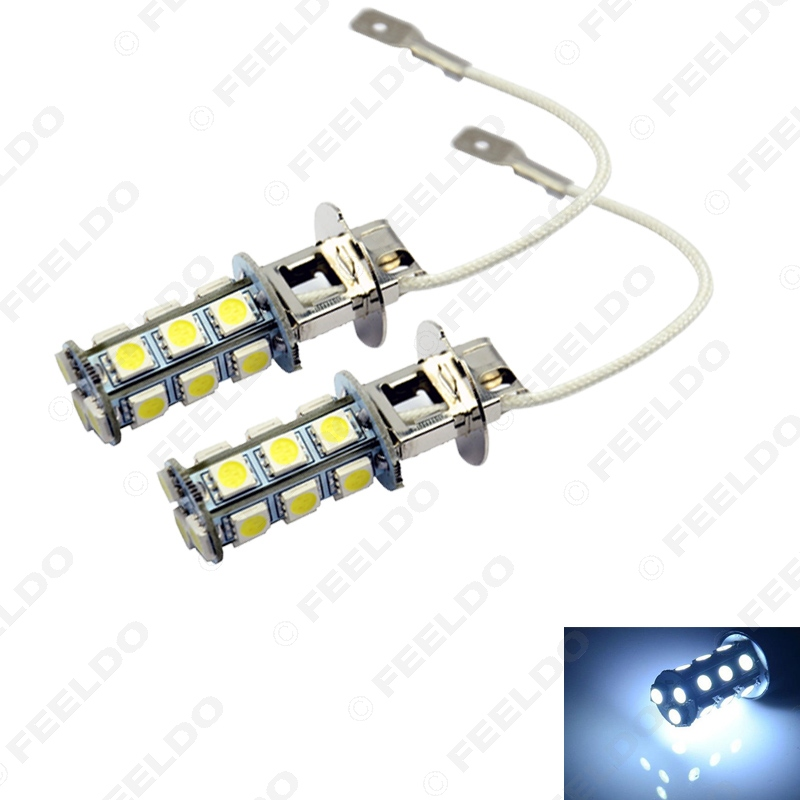 50Pcs White 3W H3 5050-SMD 18Leds Car Xenon LED Fog Headlight Head Lamp Bulb #FD-1456