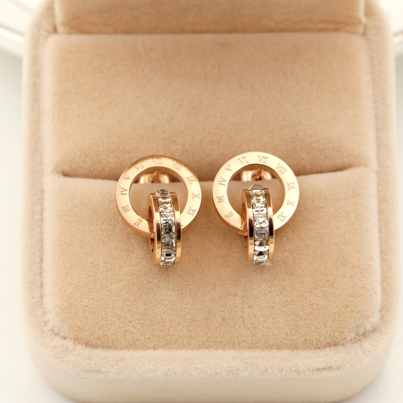 New super flash small crystal Roman digital double ring earrings fashion woman's earrings