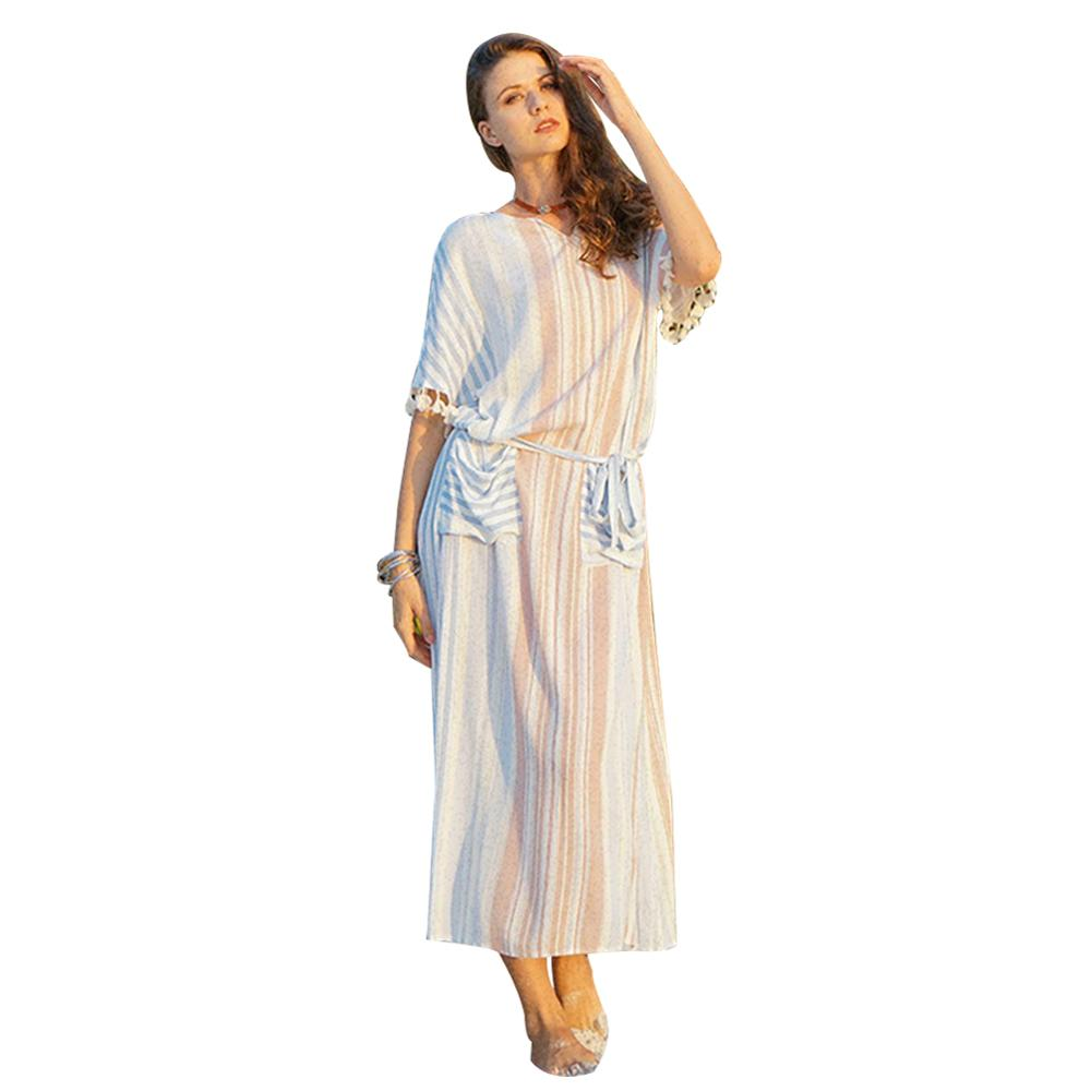 Vestido De Festa Plus Size Women Long Dresses Europe And America Artificial Cotton V-neck Mid Sleeve Printing Natural Summer