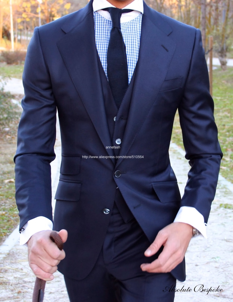 2019 Black Fashion Men s Slim Fit Business Suit Men Fashion 2 Pieces Custom Made Suits