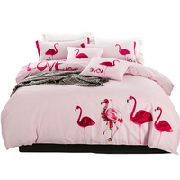 4ピースセット綿100%漫画フラミンゴアップリケ刺繍ピンク/ブルー刺繍入り布団カバー寝具セットクイーン/フルキングサイズ