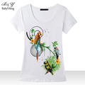 Hot Sale 2016 Fashion Summer Style T-Shirts For Women Poleras Parrot Hand-Beaded Round Neck Short Sleeve Slim Bodycon Tops