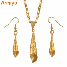 Anniyo PNG Gold Color Shell Necklace Earrings Ring for Womens Papua New Guinea Shellfish Jewelry Ethnic Style #134806