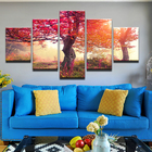 Wall Art Modern Framework Landscape Canvas Printed 5 Panel Autumn Red Maple Tree Pictures Living Room Decoration Painting