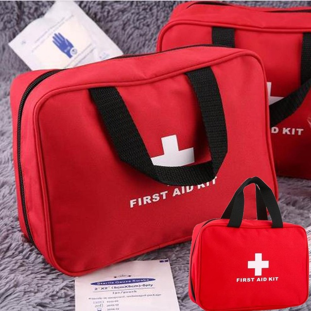 Wholesale 2PCS Outdoor Travel Emergency Kit Big First Aid Empty Bag Waterproof Portable Medical Red Bag Zipper Closure