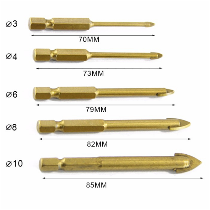 """Cutting Power Tool Titanium Coated Rotary Tools 1//4/"""" Hex Shank Glass Drill Bits"""