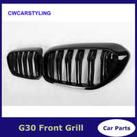 1 Pair For BMW G30 Front Grille 5 Series G30/G38 Kidney Grill 2-Slat ABS Gloss Black New 4-Door Sedan Car Styling 2017 2018