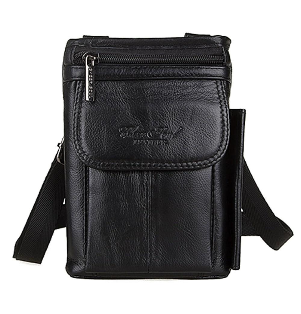 Ανδρών Γνήσιο Δερμάτινο Crossbody Body Pack Travel Cell / Κινητό τηλέφωνο Θήκη Τσιγάρων Θήκη Νομισμάτων Fanny Hook Bum Waist Bag