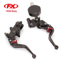 FX CNC 22mm Universal Adjustable Hydraulic Brake Cable Clutch Levers Master Cylinder Reservoir Set For YAMAHA