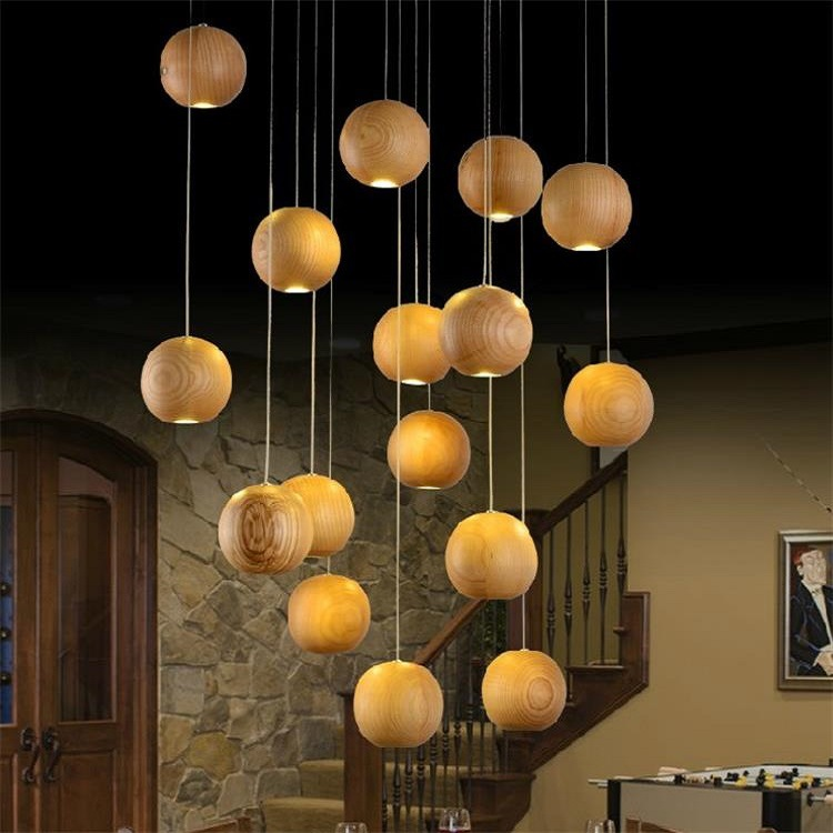 Solid Wooden LED ball pendant lamps Shop Creative Light Restaurant Cafe Solid Wood Village Staircase Wooden Pendant lights ZA